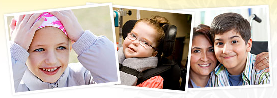 Three photos of children with special needs